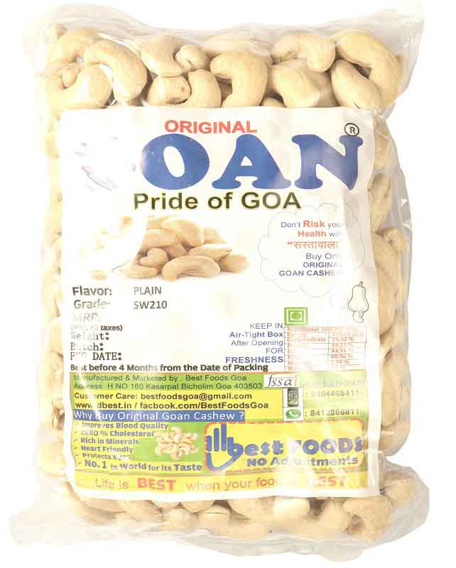Original Goan X-Large Size Plain Cashews